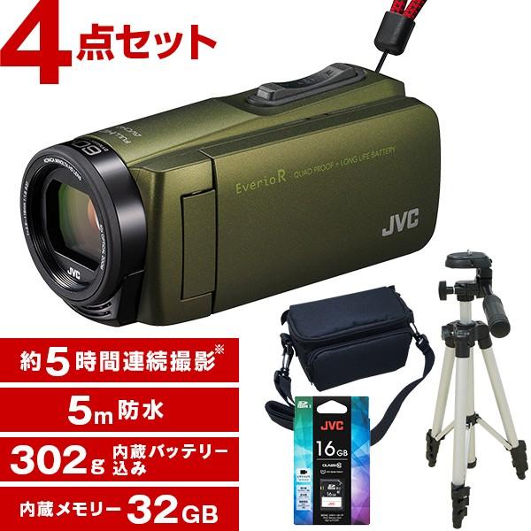 JVC(ビクター) GZ-R470-G カーキ Everio R + KA-1100 三脚&バッグ付きお得セット フルハイビジョンメモリービデオカメラ(32GB) :2980000074622 ...
