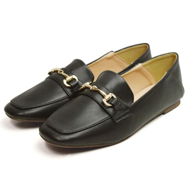 レディース ビットローファー フラット パンプス ローファー スクエアトゥ 痛くない 歩きやすい 履き易い フォーマル カジュアル キレイめ お洒落 大人 女性 靴|apricot-town|20