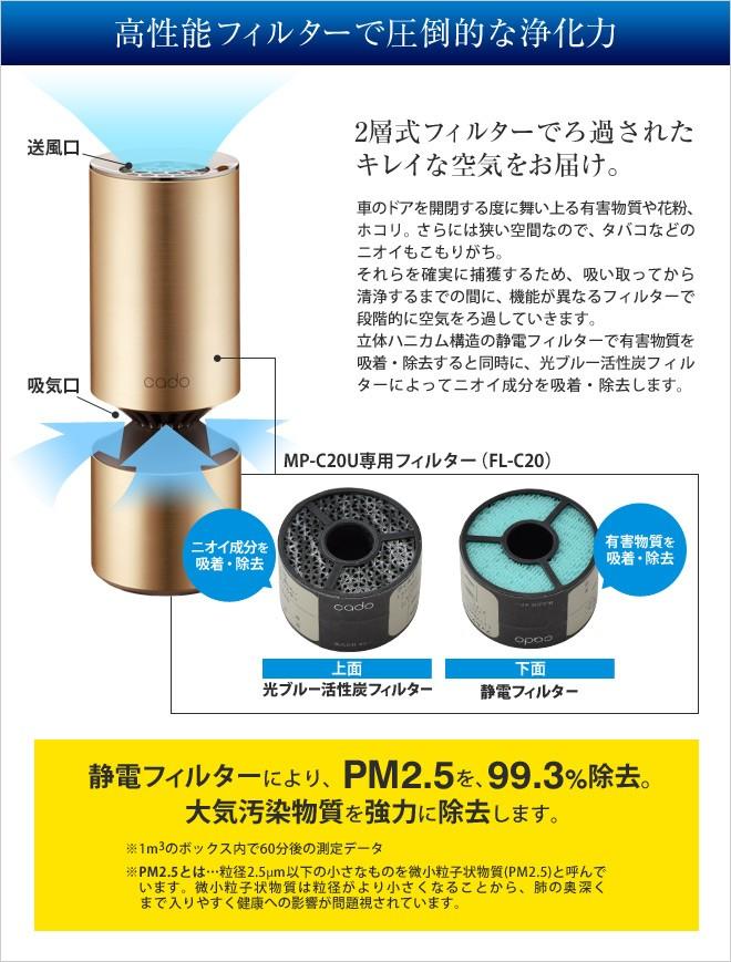 2層式フィルターで空気をろ過。PM2.5も除去します。
