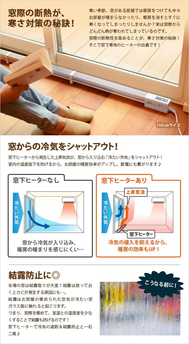 窓下ヒーターは、窓から入る冷気をシャットアウト!結露も防止します。