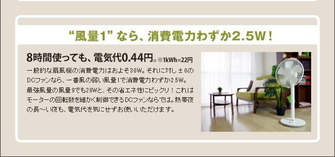 風量1なら、8時間使っても電気代わずか0.44円!