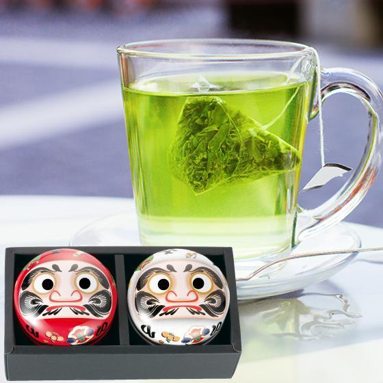 お茶 緑茶 茶葉 プレゼント 茶 ギフト 2021 健康 静岡茶 缶 2種から選べる紅白だるま缶セット 送料無料|arahata|21