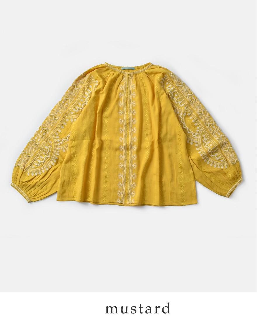 neQuittezpas(ヌキテパ)コットンレーヨンクレープ刺繍プルオーバーブラウス010181049