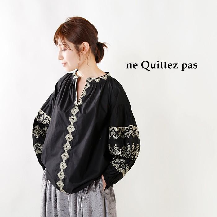 ne Quittez pas(ヌキテパ)コットンポプリン刺繍ロングスリーブブラウス 010182305o