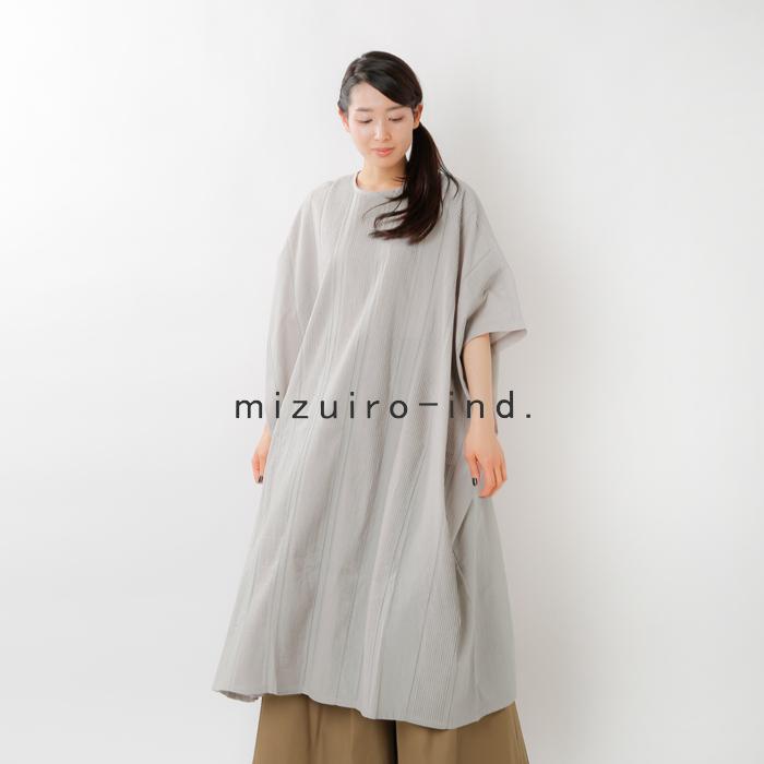 mizuiro-ind(ミズイロインド)コットンピンタッククルーネックワイドワンピース 1-259581