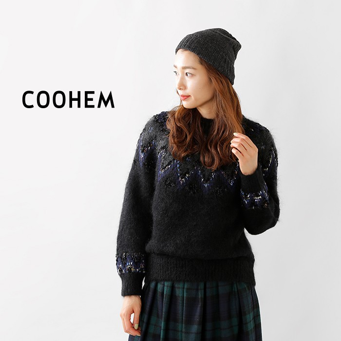 COOHEM(コーへン)モヘアウールノルディックニットプルオーバー10-204-027