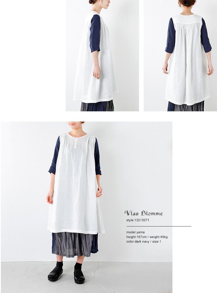 Vlas Blomme(ヴラスブラム・ブラスブラム)コルトレイクリネンピンストライプ袖配色ワンピース 13213071