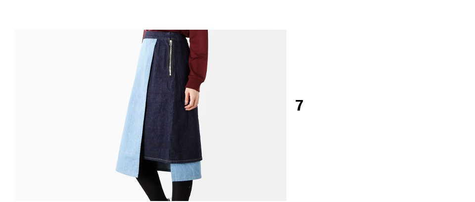 "graphpaperコンビ切替デニムスカート""Wrapped Denim Skirt"" gl173-4009"