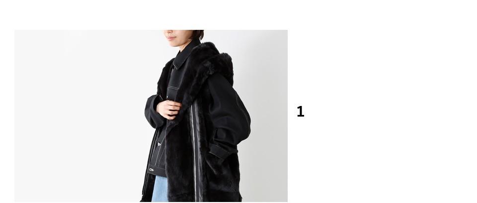 """graphpaperラビットファーノースリーブフードコート""""Rex Sleeveless Hooded Coat"""" gl173-3003"""""""