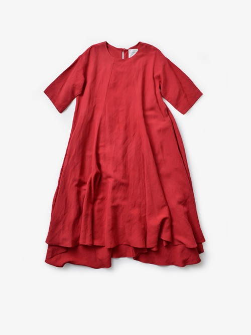 SI-HIRAIリネン混 七分袖ドレープドレス