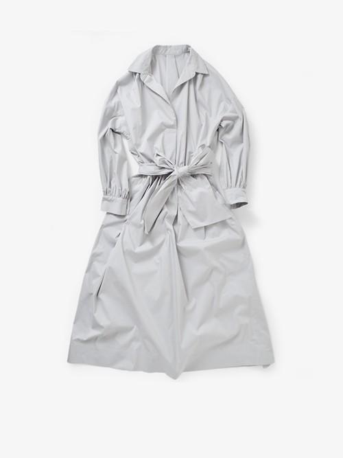 yanganyウエストリボン付ロングギャザーワンピースコート