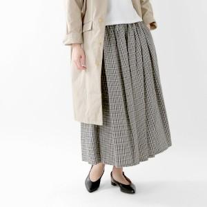 ina(イナ) リネンコットンチェック ウエストリボン切替ギャザースカート 175152