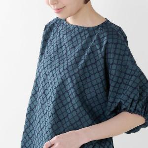soi-e(ソア) ダイア柄ウール刺繍コットンプルオーバーブラウス 810816