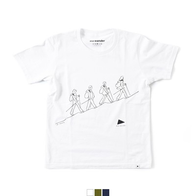 """and wander(アンドワンダー) プリントTシャツ""""quarted printed T by Yu nagaba"""" aw81-jt053"""