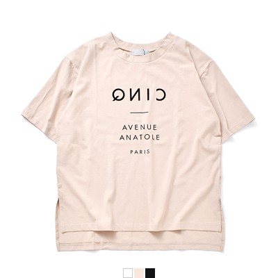 audrey and john wad(オードリーアンドジョンワッド) 天竺フロッキーロゴプリントクルーネックビッグプルオーバーTシャツ h0957