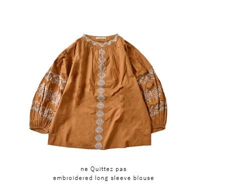 ne Quittez pas(ヌキテパ)<br>コットンポプリン刺繍ロングスリーブブラウス