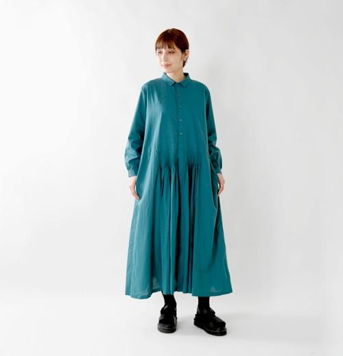 GRANDMA MAMA DAUGHTER(グランマ ママ ドーター) aranciato別注 タック&フレア コットンシャツワンピース ge810062