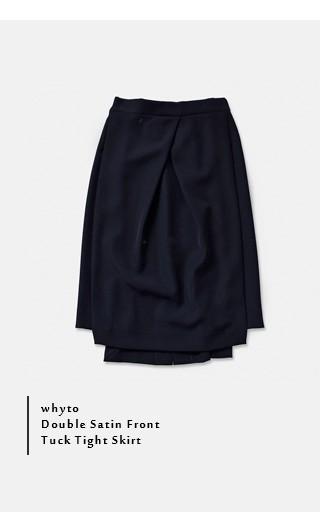 whyto(ホワイト)<br>ダブルサテンフロントタックタイトスカート wht17hsk1