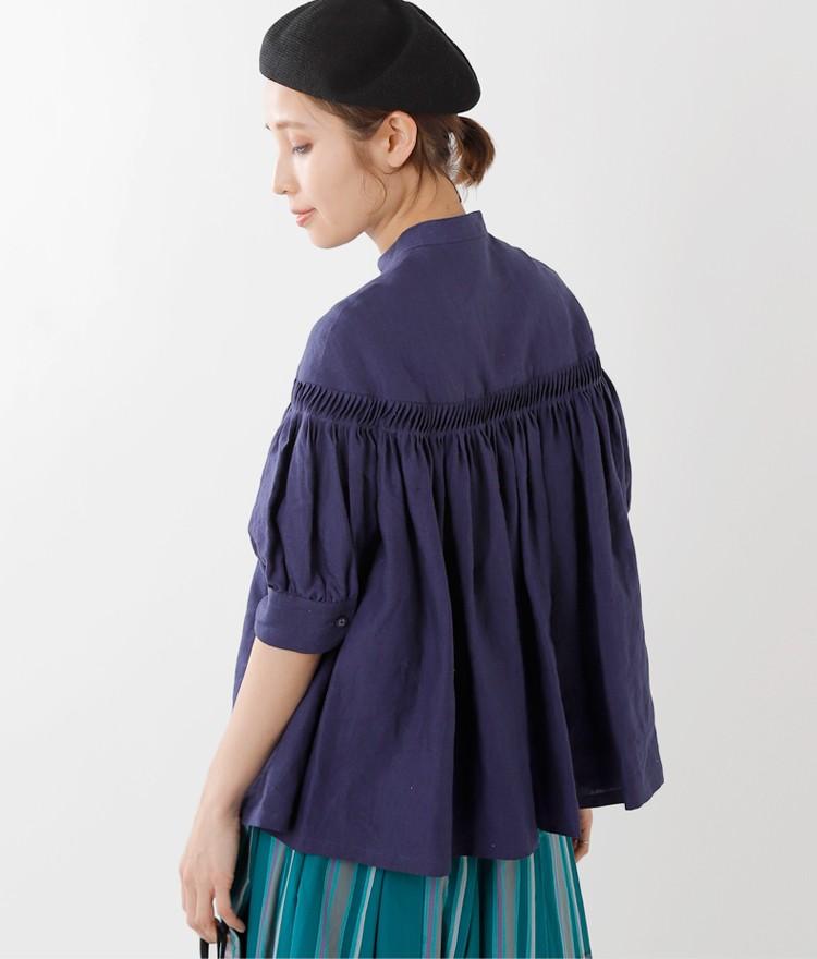 Scye(サイ) リネン高密度半袖タックシャツ 1219-31029
