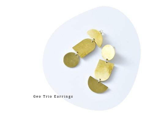 "MERAKI(メラキ)<br>真鍮ピアス""Geo Trio Earrings"""