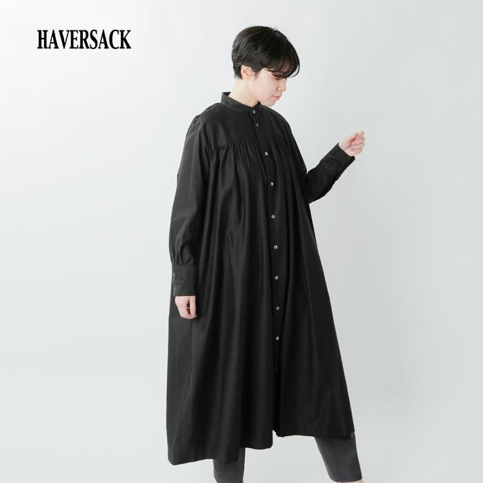 HAVERSACK(ハバーサック)ライトモールスキンコットンギャザーシャツワンピース 322000