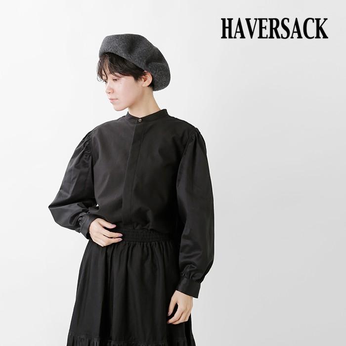 HAVERSACK(ハバーサック)コットンモールスキンサテンロングスリーブギャザーブラウス322001
