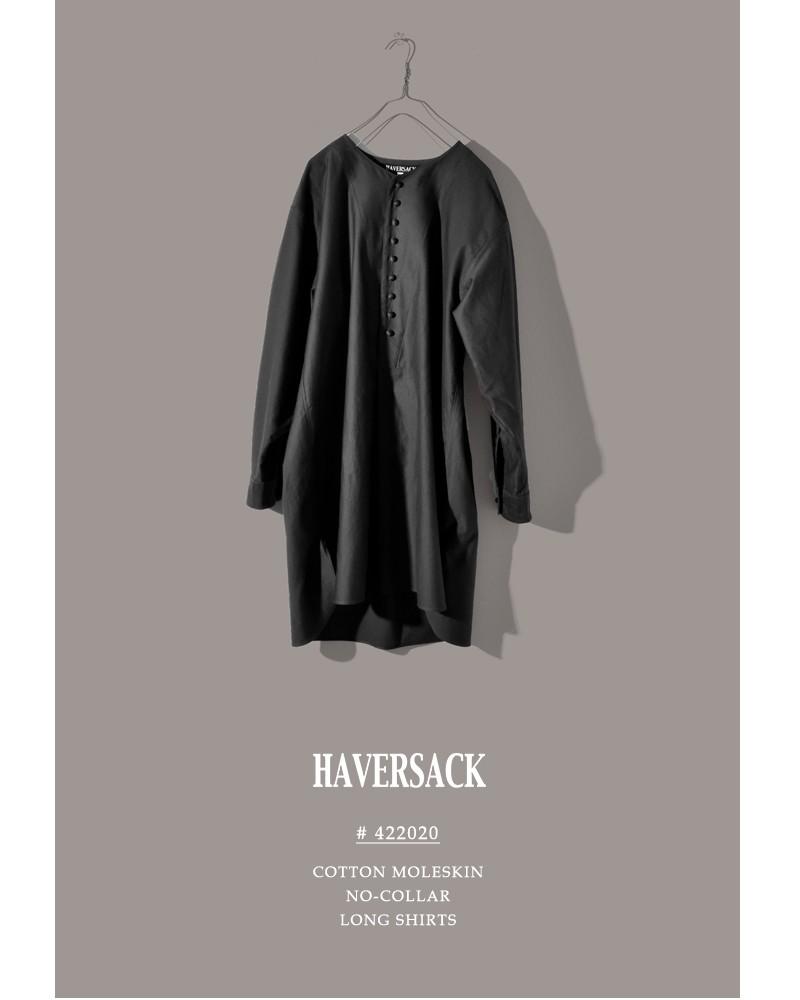 HAVERSACK(ハバーサック)コットンモールスキンノーカラーロングシャツプルオーバー 422020