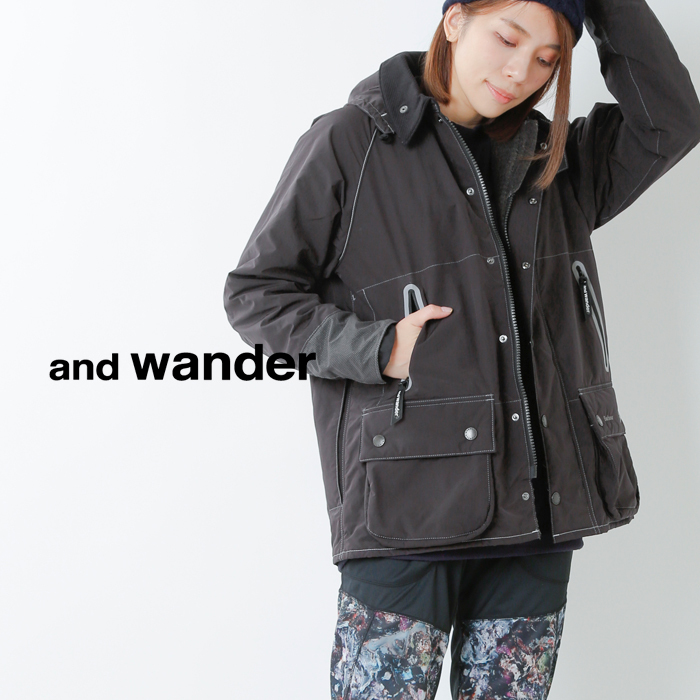 and wander(アンドワンダー)バブアーリップフードジャケット 574-0211057
