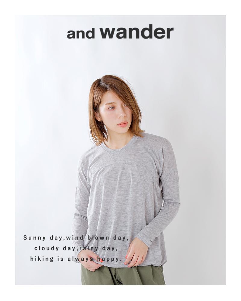 and wander(アンドワンダー)メリノウールベースロングスリーブTシャツ 574-0264052