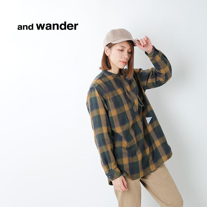 and wander(アンドワンダー)サーマルチェックプルオーバーシャツ 574-0283078