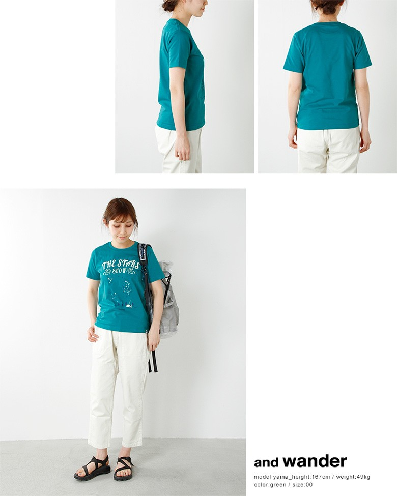 and wander(アンドワンダー)the stars showプリントTシャツ aw71-jt045