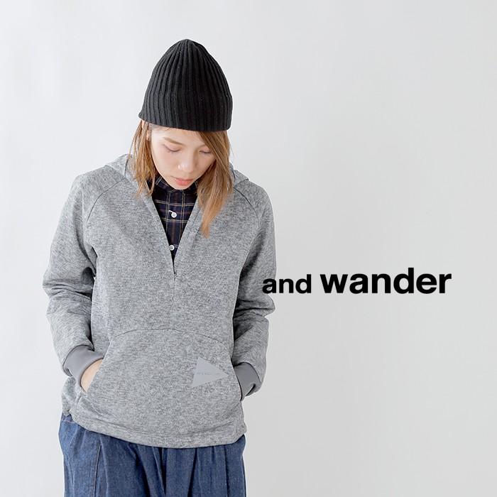 and wander(アンドワンダー)ダブルラッセルフーディー aw93-jt036