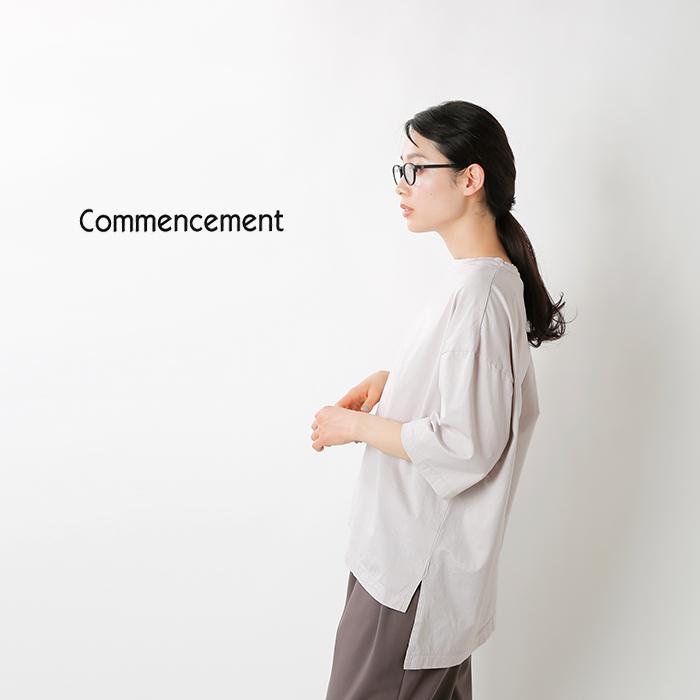 Commencement(コメンスメント)コットンクルーネック3/4スリーブワイドTシャツ c-047-5500