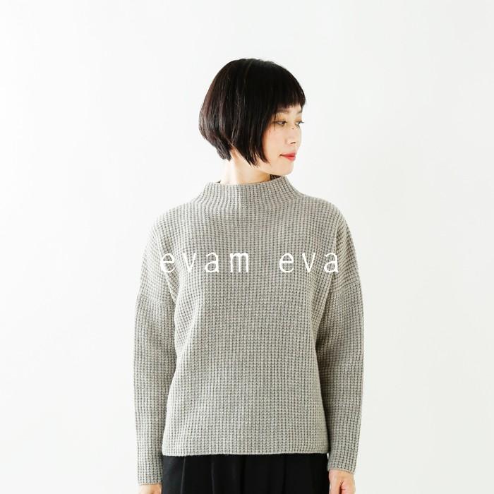 evameva(エヴァムエヴァ)ウールキャメル畦ハイネックプルオーバーe183k106