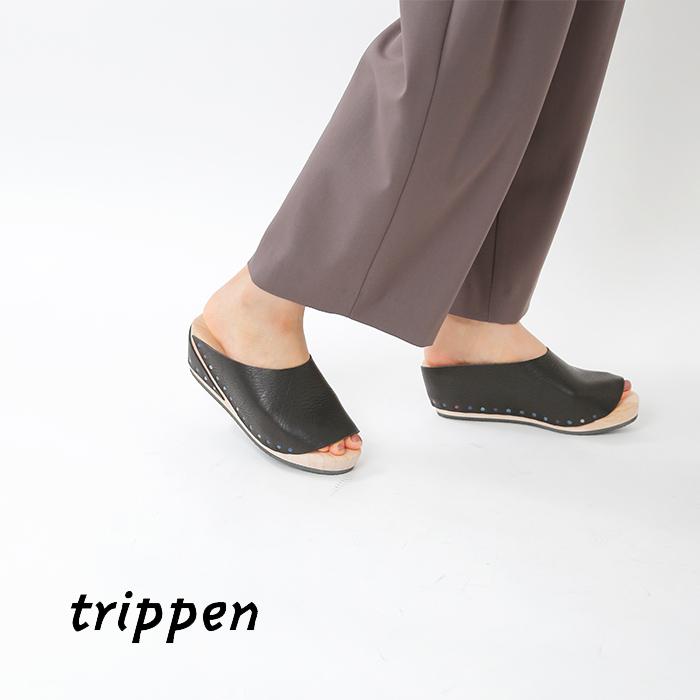 trippen(トリッペン)レザーウッドソールサンダル hut-waw