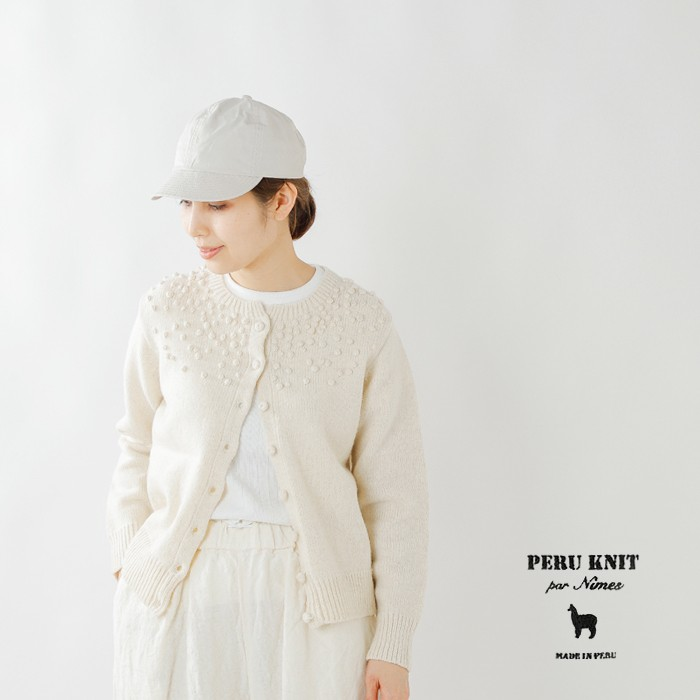 PERU KNIT(ペルーニット)ドット刺繍ウールニットカーディガン ifk9511031
