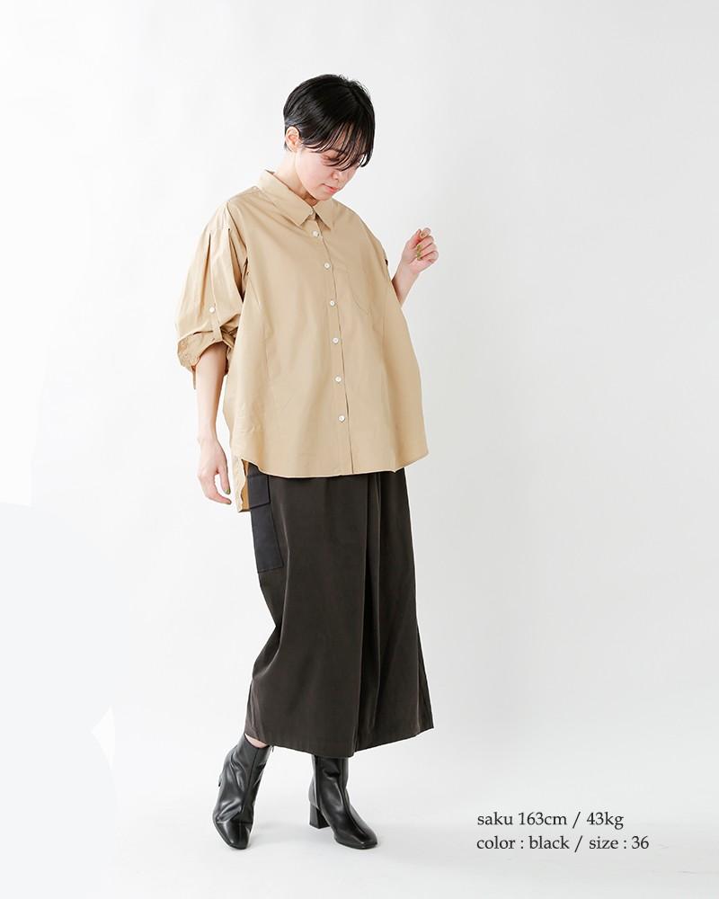 ISATOdesign(イサトデザイン)ストレッチセミタイトラップスカート is-s-017