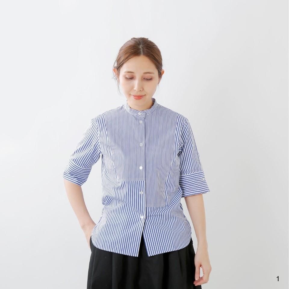 CINOH コットンストライプコンパクトブザムシャツ