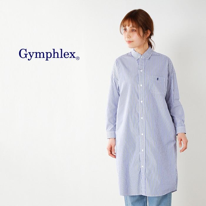 Gymphlex(ジムフレックス)100/2コットンストライプシャツワンピースj-1176tss