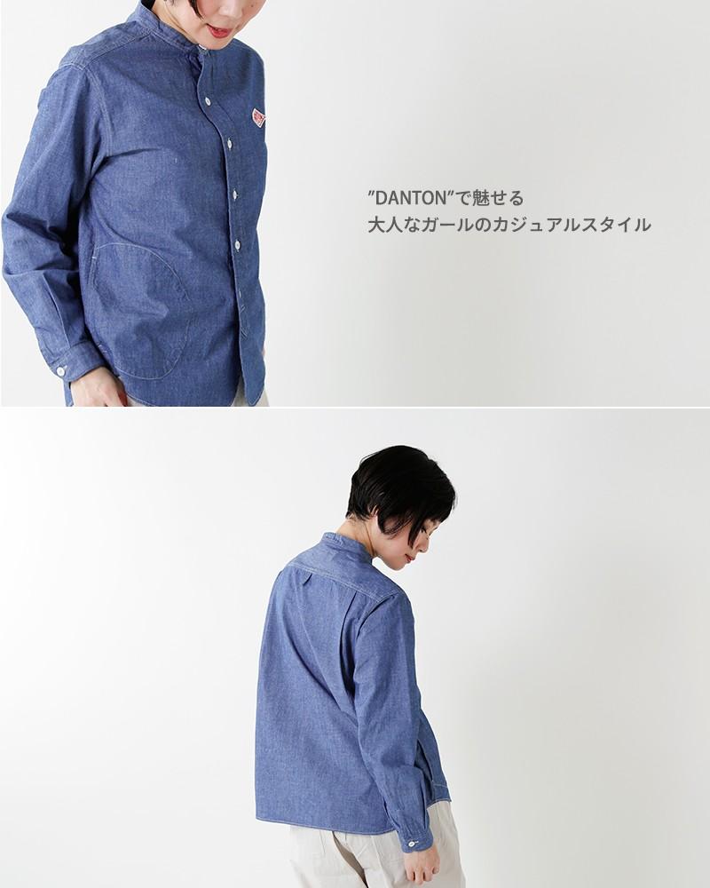 シャンブレーノーカラーシャツ