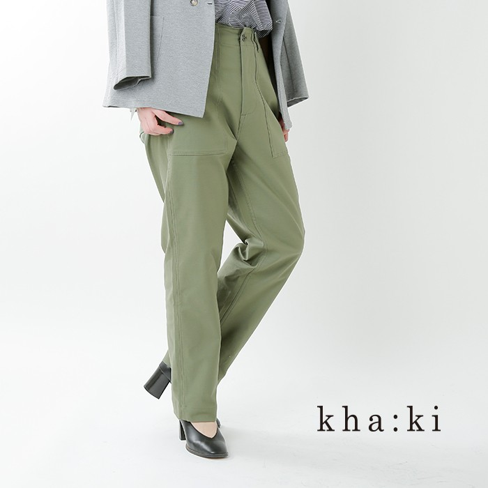 kha:ki(カーキ)バックサテンミッドライズテーパードミリタリーパンツ mil-19hpt201