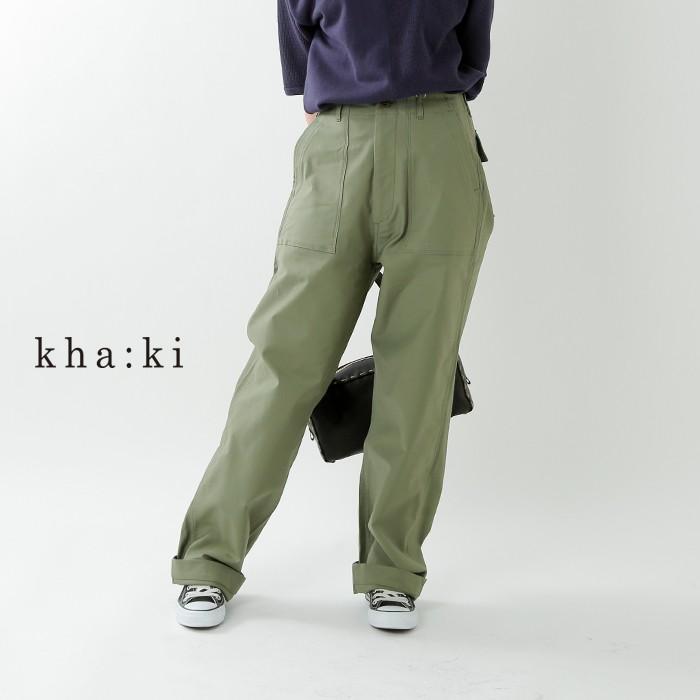kha:ki(カーキ)ミリタリーバックサテンハイライズストレートベイカーパンツ mil-19hpt202