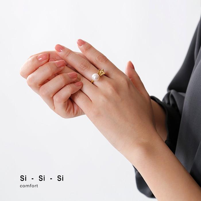 "Si-Si-Si(スースースー)真鍮パール百合モチーフリング""FREE RING"" n-132"