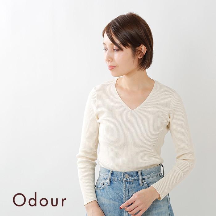 Odour(オウダー)コットンカシミヤVネックプルオーバーod-kn8410