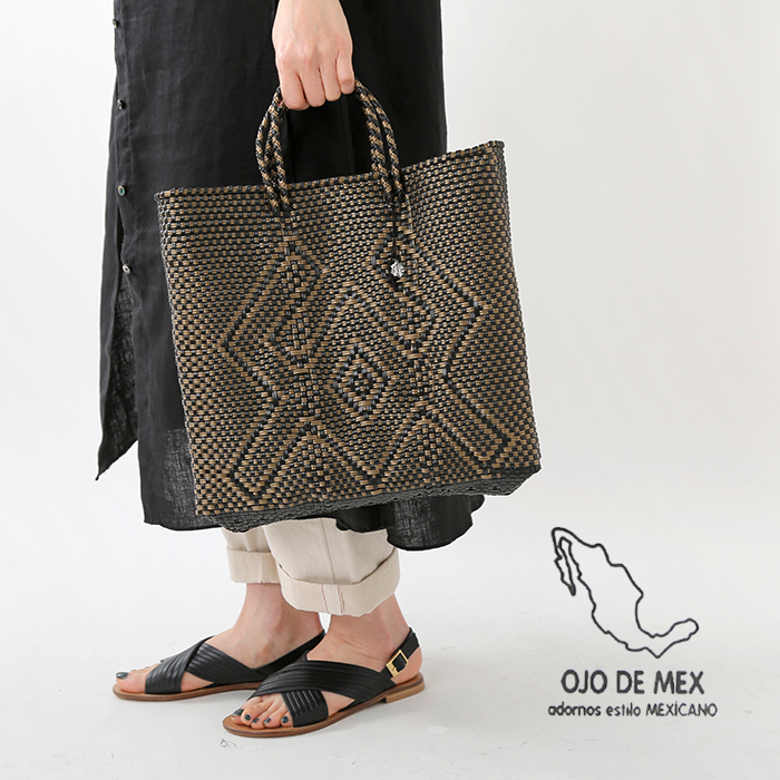 OJO DE MEX(オホ デ メックス)チャーム付きメキシカンバスケット plastico-cagotote