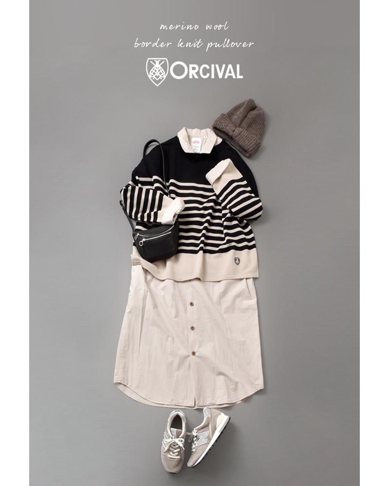 ORCIVAL(オーチバル・オーシバル)メリノウール ボーダーニットプルオーバー rc-4157