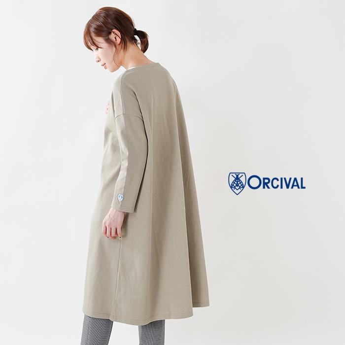 ORCIVAL(オーチバル・オーシバル)コットン100%クルーネックフレアカットソーワンピースrc-9098