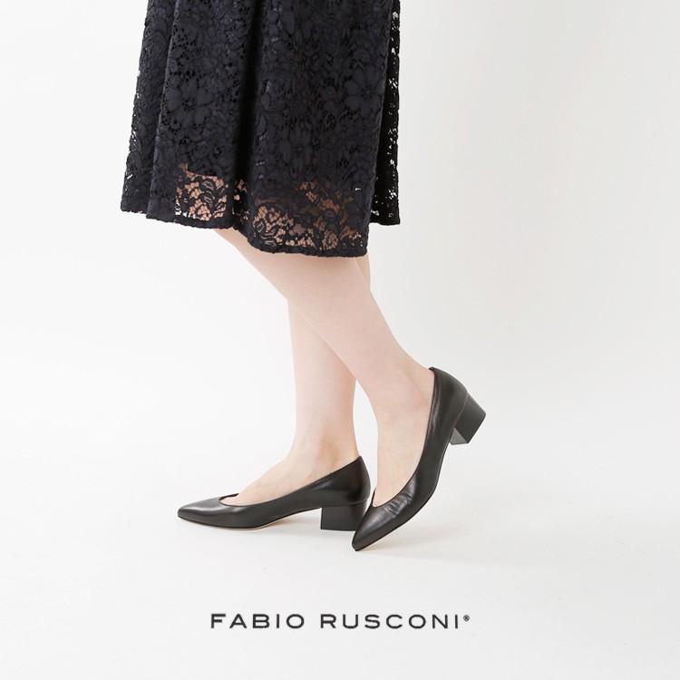 FABIO RUSCONI(ファビオルスコーニ)aranciato別注 ポインテッドトゥレザーパンプス s-2948