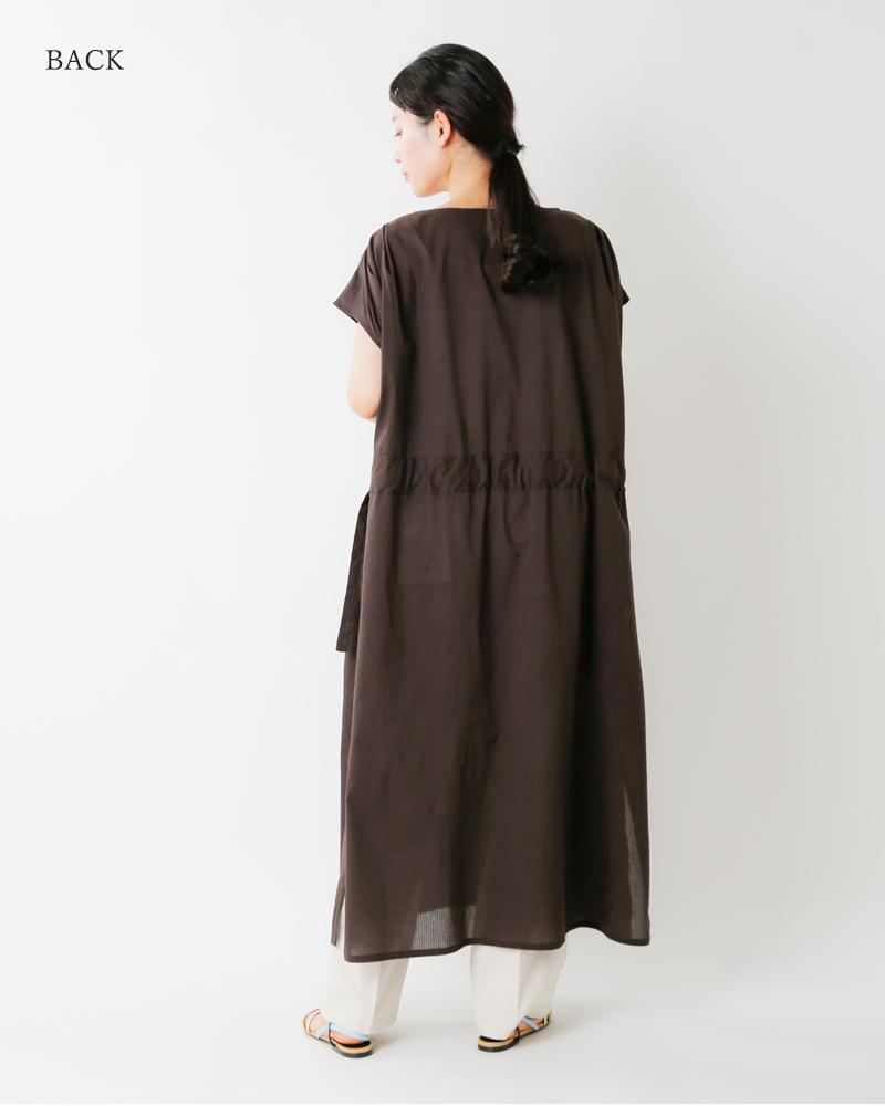 normment(ノーメント)コットンストライプジャガードタックノースリーブドレス s474