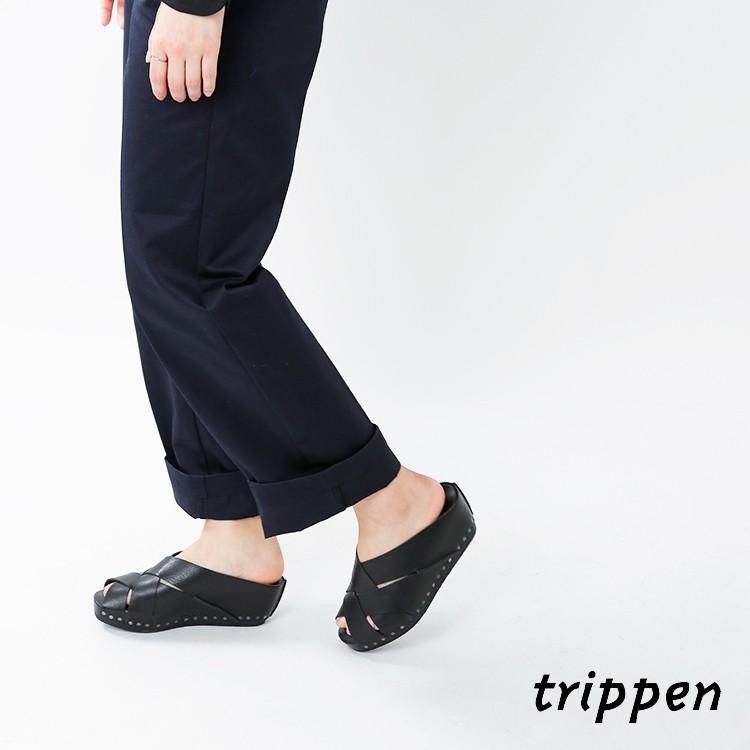 trippen(トリッペン)カウレザーツイストブラックウェッジソールサンダルtwist-waw-wx91